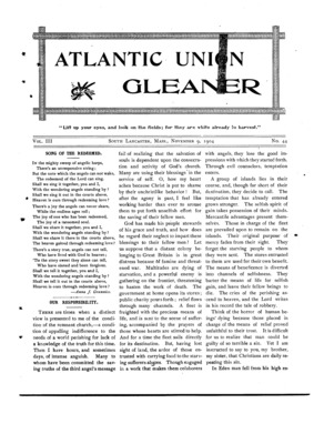 Atlantic Union Gleaner | November 9, 1904