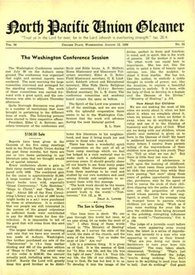 6091de5e7 North Pacific Union Gleaner   August 15, 1939