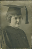 Mabel A. Hinkhouse in cap and gown, probably from her graduation from Union College