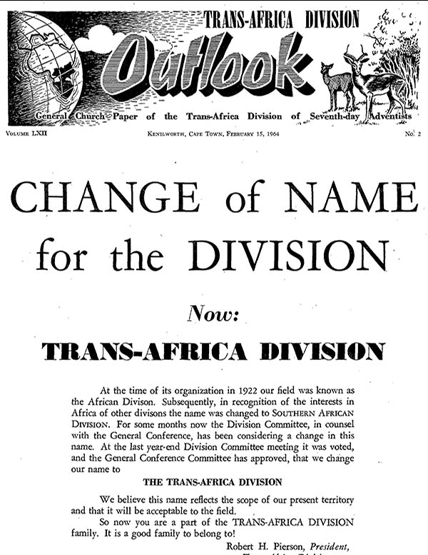 Trans-Africa Division Outlook, Southern African Division Outlook, African Division Outlook, South African Missionary