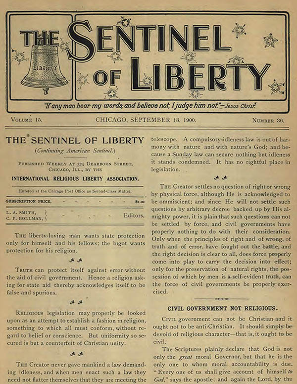 Sentinel of Christian Liberty, The Sentinel of Liberty (May 1900-Nov 1900), American Sentinel (1886-Apr 1900)